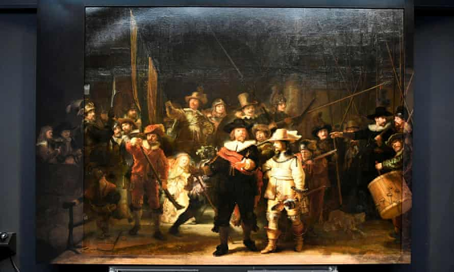 Rembrandt's Night Watch, complete with restored panels.