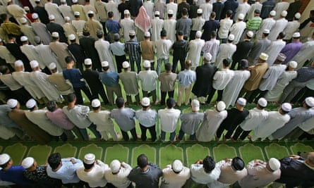 Worshippers during Friday prayer at the East London Mosque.
