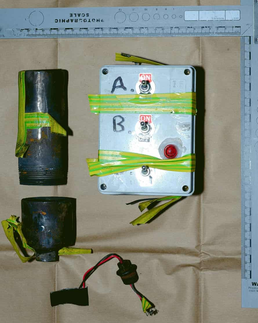 The bomb that police believe was intended to explode on Brexit night.