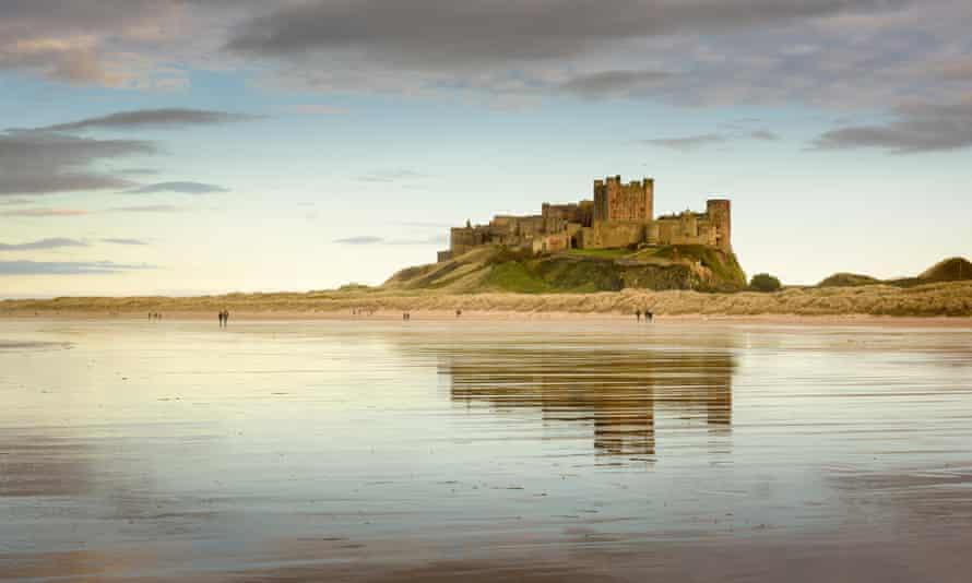 Bamburgh Castle and beach, Northumberland.