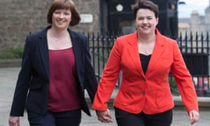 The Scottish Conservative leader, Ruth Davidson, right and her partner, Jen Wilson, arrive to vote in the Scottish parliamentary elections