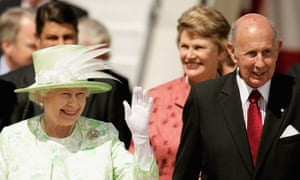 John Landy, when governor of Victoria, with Queen Elizabeth on her arrival in Melbourne in2006.