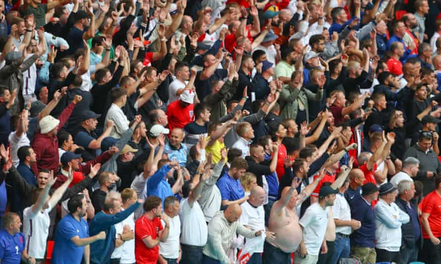 Fans watch England v Germany in the Uefa European Championship at Wembley Stadium on 29 June.