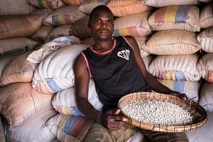 Maize trader Carrington Mwanda, in Nsanje market, Malawi