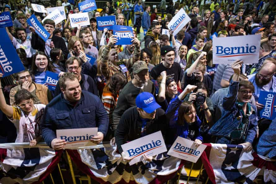 Bernie Sanders supporters at a campaign rally in Richmond, Virginia, on 27 February.