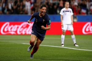 France's Valerie Gauvin celebrates scoring their first goal.