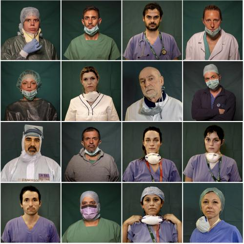 Doctors and nurses photographed during a break or at the end of their shifts in Rome, Bergamo and Brescia, Italy