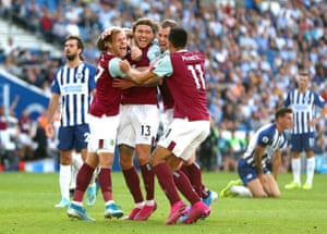 Jeff Hendrick of Burnley celebrates with teammates after scoring his team's equaliser.