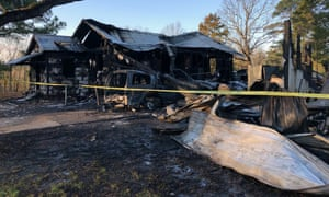 This image provided by WLBT-TV shows damage to a house after the fatal fire in Clinton, Mississippi.
