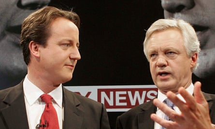 David Cameron, left, and David Davis go head to head in a live TV debate in November 2005.