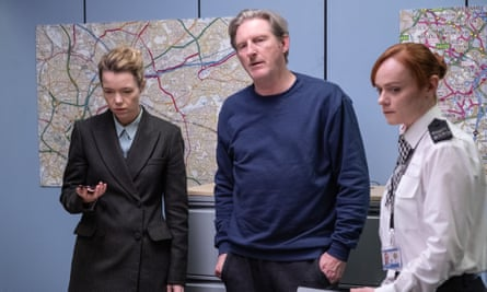 Increasingly broken ... Ted (Adrian Dunbar) with Carmichael (Anna Maxwell Martin) and Tranter (Natalie Gavin).