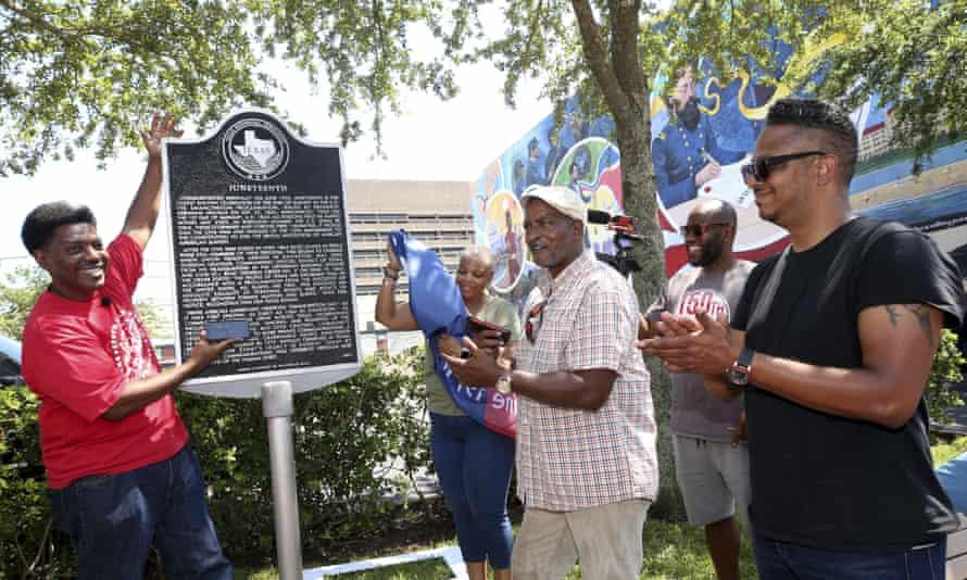 A Juneteenth historical marker in Galveston, the city where Juneteenth began.
