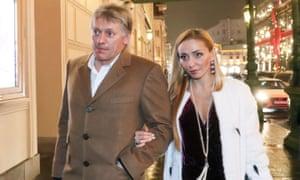 Dmitry Peskov and ice dancer Tatiana Navka attending the premiere of Kirill Serebrennikov's Nureyev ballet at the Bolshoi theatre in December 2017.