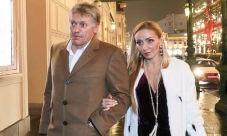Russia's presidential spokesman Dmitry Peskov and his wife, the former ice dancer Tatiana Navka