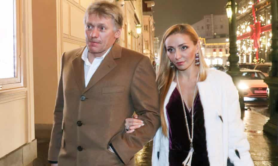Tatiana Navka, with her husband, the Russian presidential spokesman, Dmitry Peskov, attend a premiere at the Bolshoi Theatre in Moscow in 2017.