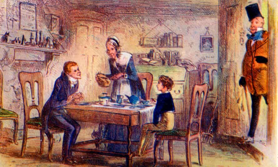An illustration showing the arrival of Mr Micawber,