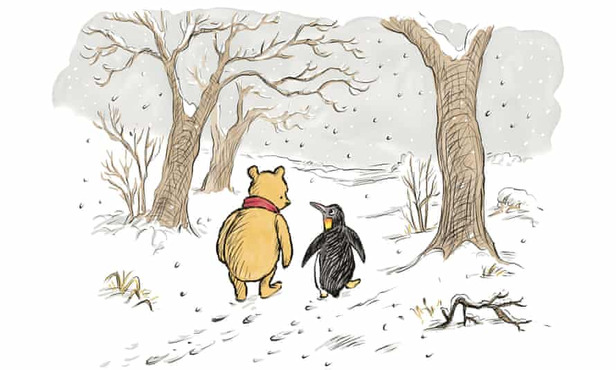 Winnie-the-Pooh and Penguin, in an illustration from The Best Bear in All the World.
