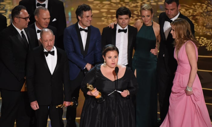 Blye Pagon Faust speaks, as the production team and cast members of Spotlight accept their award for best picture - Oscars 2016 Winners Images Photos