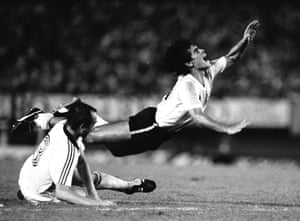 Maradona is fouled during a friendly international between West Germany and Argentina in Buenes Aires