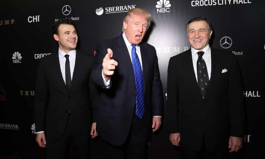 Emin Agalarov, Donald Trump and Aras Agalarov attend the red carpet at Miss Universe in Moscow, in November 2013.