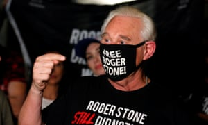 Roger Stone reacts after Trump commuted his federal prison sentence outside his home in Fort Lauderdale, Florida.