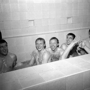 Manchester United's David Herd, Denis Law, Nobby Stiles and Shay Brennan