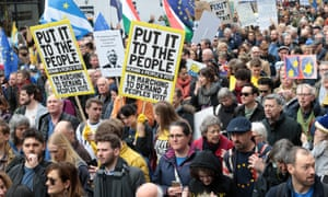 Protesters call for a second Brexit referendum, during a rally on March 23.