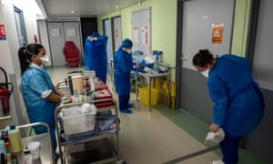 Nurses work in the Covid-19 department of Joseph Imbert Hospital on February 09, 2021 in Arles, France.