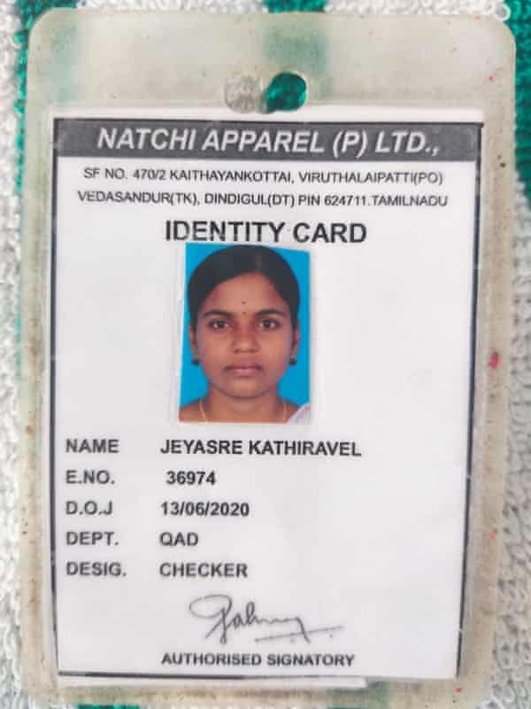 Jeyasre Kathiravel's worker permit