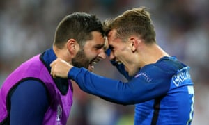 Antoine Griezmann celebrates with Andre-Pierre Gignac after France's 2-0 win.