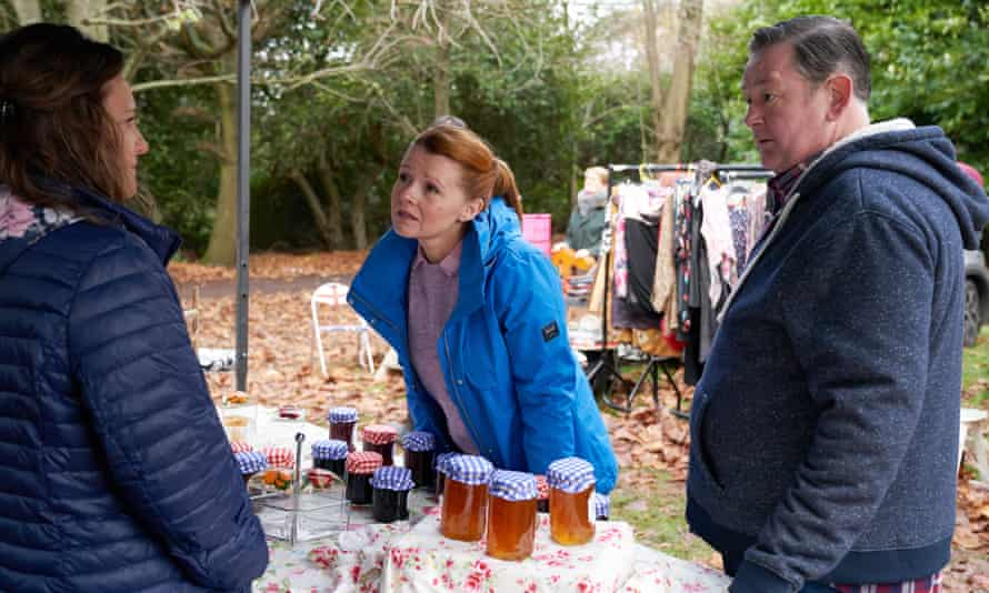 Johnny Vegas with Sian Gibson, centre, and Gemma Wardle in a scene from Murder, They Hope, a new series of the murder-mystery spoof.