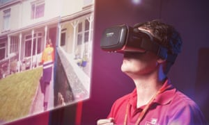 A postal worker uses VR in a training session