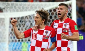 Luka Modric and Ante Rebic after Croatia's second goal in the World Cup win over Nigeria.