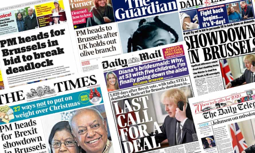 The front pages of the UK papers on Tuesday as Brexit negotiations appear to falter days before the deadline for leaving.