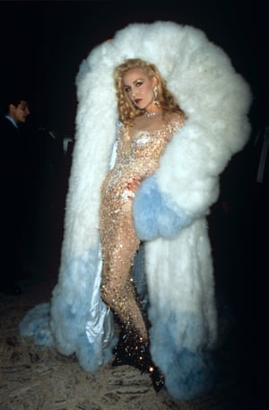 Jerry Hall at a charity gala in New York, in a Thierry Mugler creation, 1995