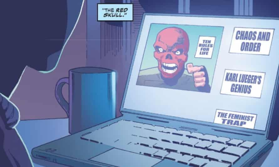 Panel from Captain America Volume 9 #28, written by Ta-Nehisi Coates, which shows Red Skull lecturing viewers on his '10 rules for life'.