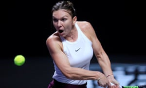 Simona Halep in action during her match against Bianca Andreescu.