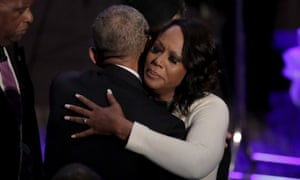 Maya Rockeymoore Cummings is greeted by Barack Obama during funeral services for Elijah Cummings in Baltimore, Maryland, on 25 October.