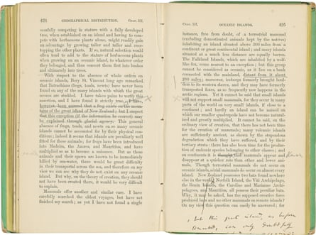 Some of Charles Darwin's annotations to On the Origin of Species.