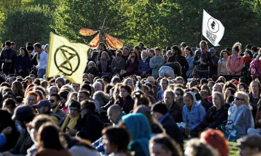 Climate change activists at the Extinction Rebellion protests in Hyde Park, London.