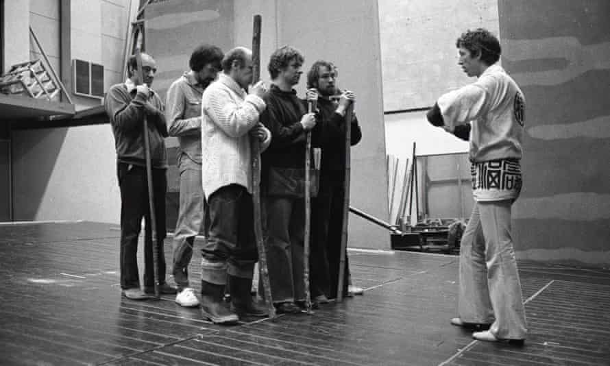 Terry Hands in rehearsals for Coriolanus in 1977.