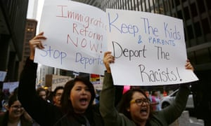 Protest against Donald Trump's immigration policies in Chicago.