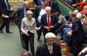 London, England Theresa May exchanges words with Jeremy Corbyn