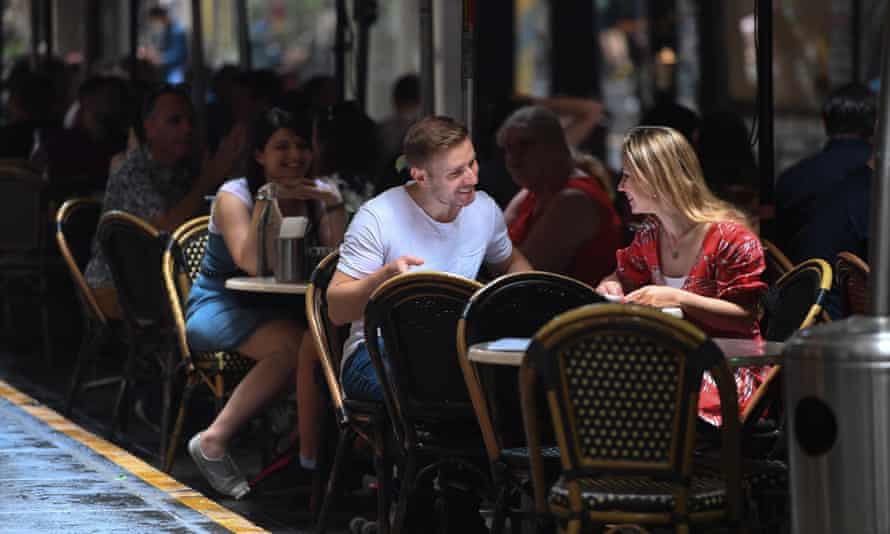 People dine outdoors in Melbourne