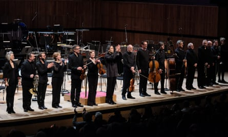 London Sinfonietta players with Vladimir Jurowski, centre (applauding),  at the Festival Hall.