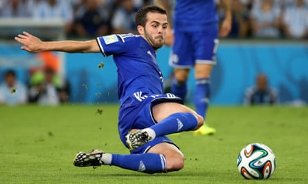 Miralem Pjanic in action for Bosnia-Herzegovina at the 2014 World Cup