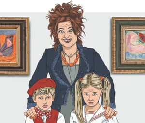 Parent with children in gallery