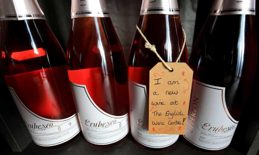 Bottles of sparkling wine made in Sussex for sale at the English Wine Centre near Alfriston.