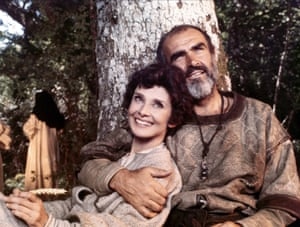 Audrey Hepburn as Marian and Sean Connery as Robin