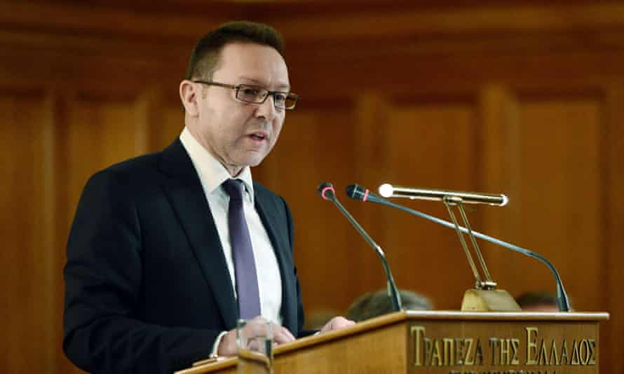 Yannis Stournaras addressing the Greek parliament